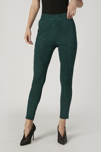 Textured Mid WaistTreggings with Elasticised Waistband