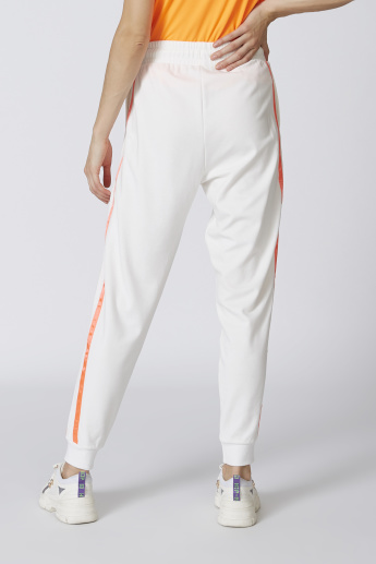 Plain Mid Waist Jog Pants with Tape Detail and Drawstring