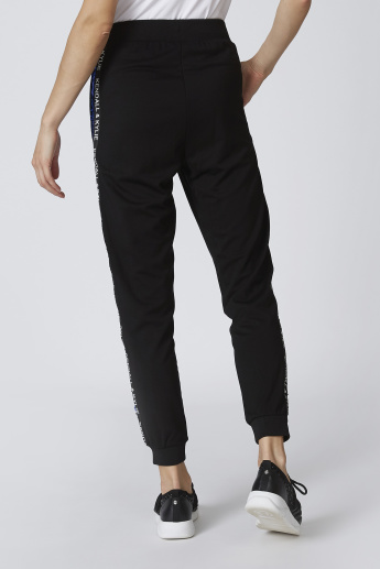 Cuffed Mid-Rise Track Pants with Typographic Taping and Sequin Detail