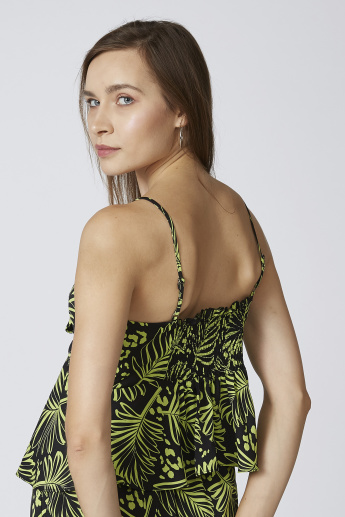 Tropical Printed V-neck Strappy Peplum Top