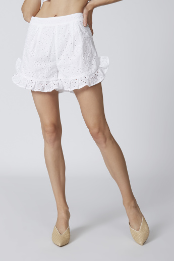 Schiffli Mid Waist Shorts with Zip Closure and Ruffle Detail