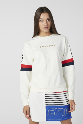 Printed Sweatshirt with Long Sleeves and Round Neck