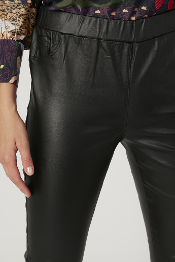 Plain Mid Waist Pants with Pocket Detail and Elasticised Waistband