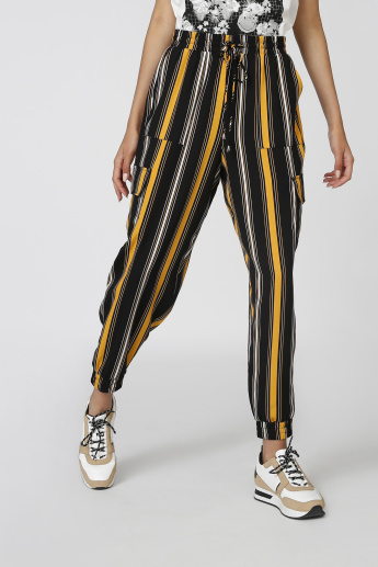 Full Length Striped Jog Pants with Pockets and Drawstring