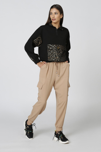 Full Length Mid Waist Plain Jog Pants with Pockets and Drawstring