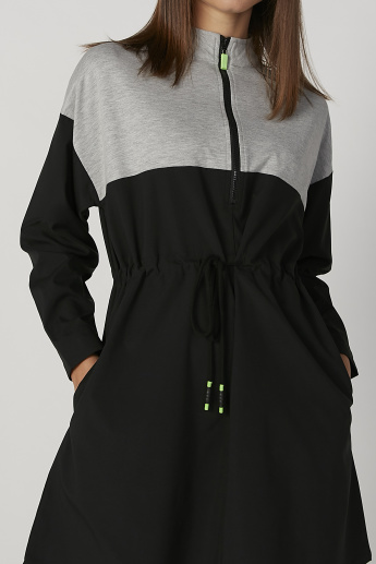 Solid Skater Dress with Zip Detail and Tie Ups