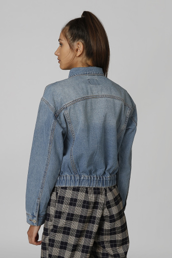 Denim Jacket with Long Sleeves and Pocket Detail