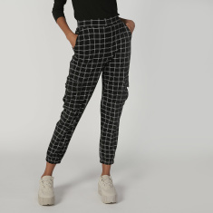 Chequered Cuffed Pants with Elasticised Waistband and Pocket Detail