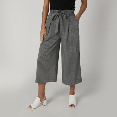 Printed Culottes with Pocket and Tape Detail