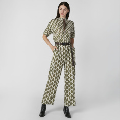 Expo 2020 Printed Jumpsuit with Short Sleeves and High Neck