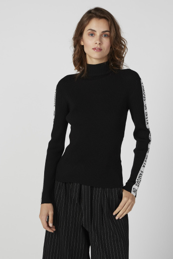 Ribbed Sweater with Turtleneck and Printed Long Sleeves