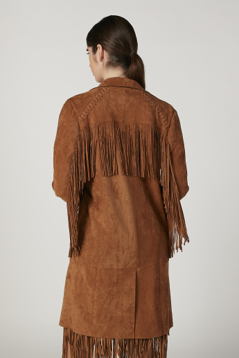 Textured Longline Jacket with Long Sleeves and Fringes