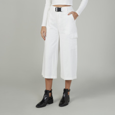 Plain Cropped Mid Waist Cargo Pants with Pocket Detail