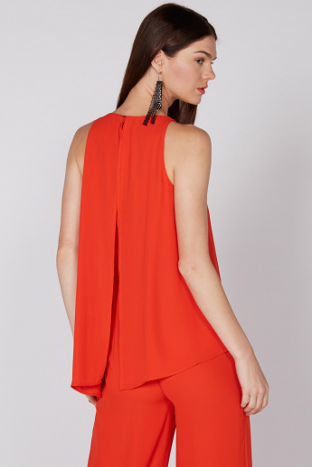 Elle Sleeveless Layered Jumpsuit with Key Hole Closure