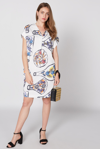 Elle Printed Midi Dress with V-Neck and Extended Sleeves