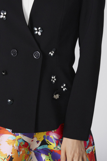 Elle Applique Detail Jacket with Long Sleeves and Button Closure