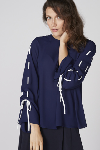 Elle Tie Up Sleeves Top with Round Neck and Keyhole Closure
