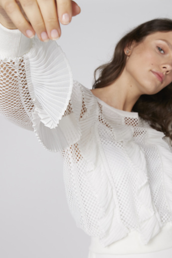 Elle Mesh and Ruffle Detail Top with Long Sleeves