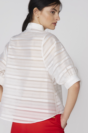 Elle Striped Shirt with Balloon Sleeves and Complete Placket