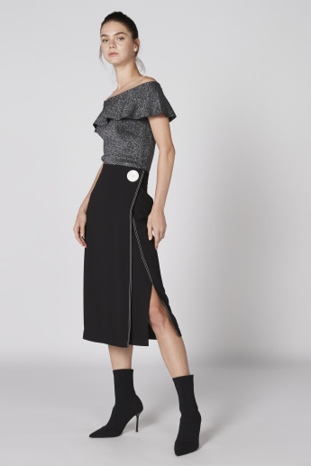Elle Stitch Detail Midi Skirt with Flat Button and Zip Closure