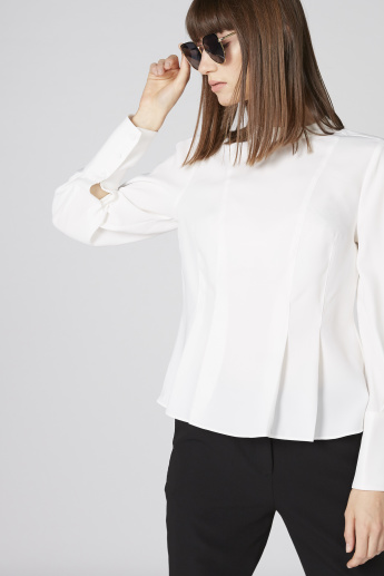 Elle Pleated Top with High Neck and Long Sleeves