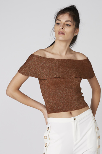 Elle Textured Off Shoulder Top with Ruffle Detail