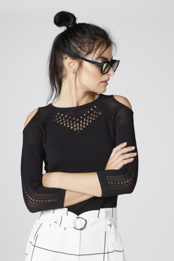 Elle Textured Cold Shoulder Top with 3/4 Sleeves