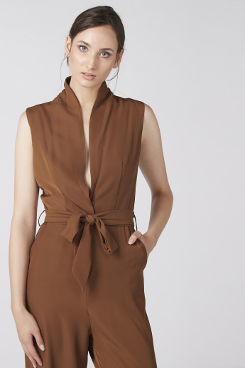 Elle Full Length Jumpsuit with Pocket Detail and Tie Up Belt
