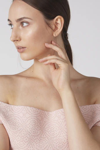 Elle Textured Off Shoulder Top with Ruffled Hem