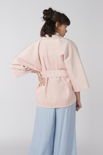Elle Textured Shrug with Pocket Detail
