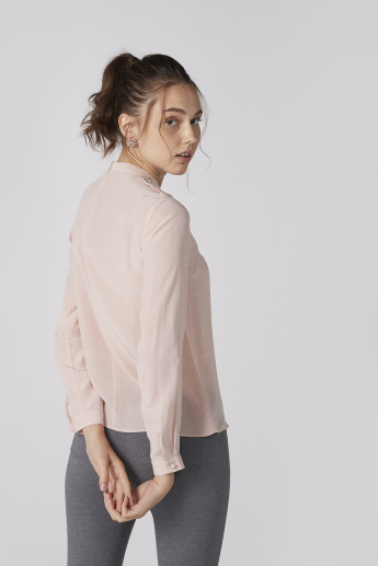 Elle Embellished Top with High Neck and Long Sleeves