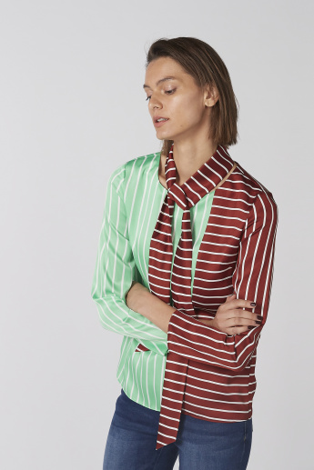 Elle Striped Top with Long Sleeves and Tie Ups