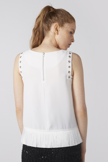 Elle Eyelet and Fringe Detail Sleeveless Top with Round Neck