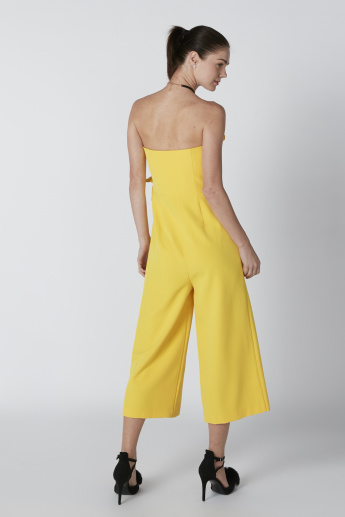 ELLE Strapless Cropped Jumpsuit with Ruching Detail