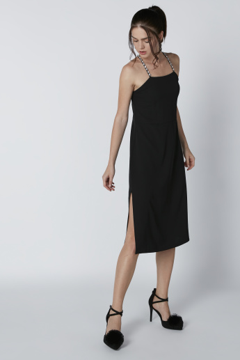 ELLE Midi Dress with Side Slits and Studded Crossed Straps