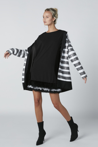 ELLE Mini Dress with Plush Detail and 3/4 Sleeves