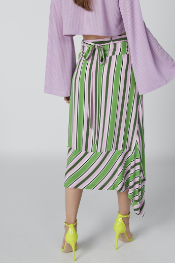 ELLE Striped Asymmetric Midi Skirt with Tie Up Belt