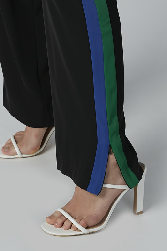 ELLE Palazzo Pants with Tape Detail and Side Slit
