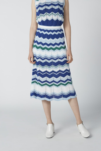 ELLE Striped Midi A-Line Skirt with Elasticised Waistband