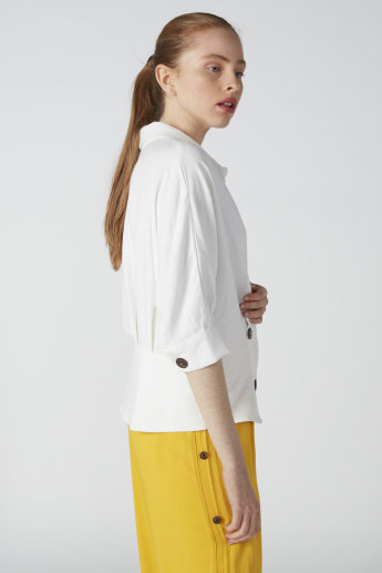 ELLE Collared Top with Button Detail and 3/4 Sleeves