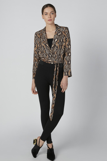 ELLE Animal Printed Top with Tie Up Detail