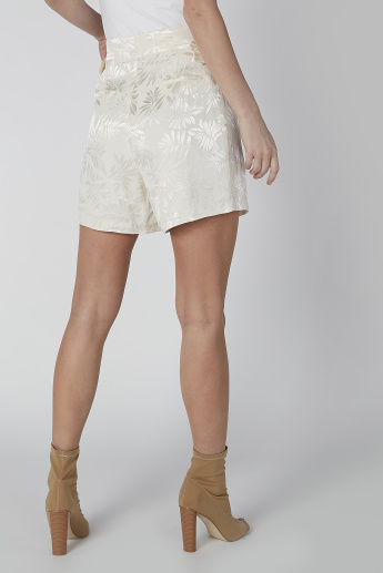 Textured Shorts with Zip Fly Closure and Pocket Detail