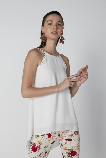 ELLE Studded Detail Top with Straps and Asymmetric Hem