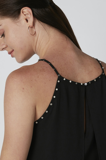 ELLE Solid Studded Detail Top with Straps and Asymmetric Hem