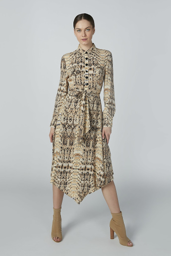 ELLE Animal Printed Shirt Dress with Long Sleeves