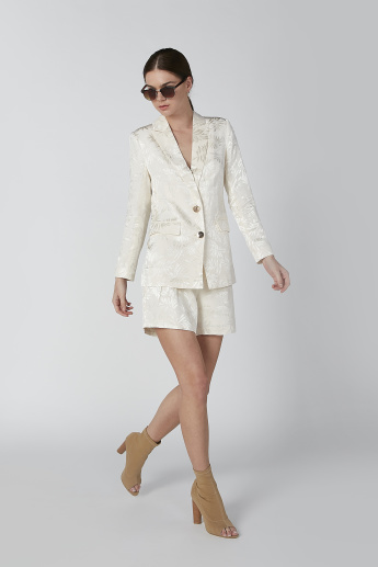 ELLE Textured Blazer with Long Sleeves and Pocket Detail