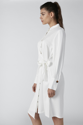 ELLE Solid Midi Shirt Dress with Tie Ups and Long Sleeves