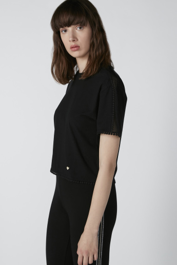 ELLE Pom-Pom Detail Top with Short Sleeves
