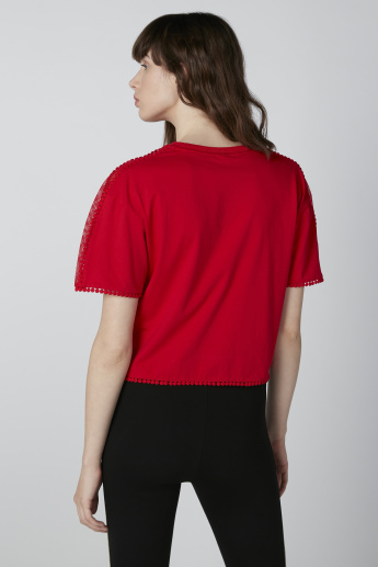 ELLE Pom-Pom Detail Top with Heart Accent