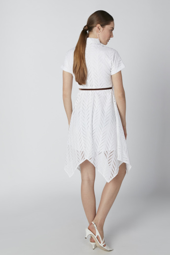 ELLE Midi Lace Collared Dress with Asymmetric Hem and Tie Up Belt